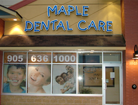 Maple Dental Care Office Sign